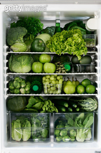 Fidge filled up with green vegetables and fruit - gettyimageskorea