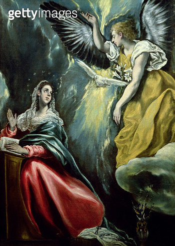 <b>Title</b> : The Annunciation, c.1575 (oil on canvas)<br><b>Medium</b> : oil on canvas<br><b>Location</b> : Private Collection, Japan<br> - gettyimageskorea