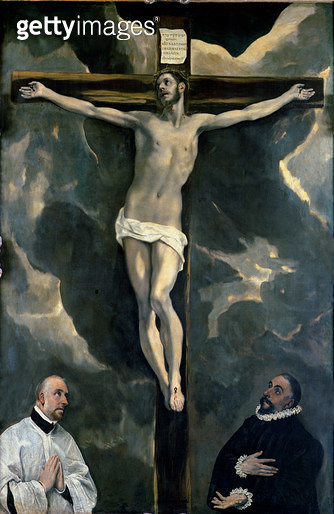 <b>Title</b> : The Crucifixion with Two Donors, c.1580 (oil on canvas)Additional InfoLe Christ entre deux donateurs; original on altar of Royal<br><b>Medium</b> : oil on canvas<br><b>Location</b> : Louvre, Paris, France<br> - gettyimageskorea