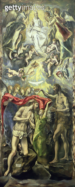 <b>Title</b> : The Baptism of Christ (oil on canvas)<br><b>Medium</b> : <br><b>Location</b> : Prado, Madrid, Spain<br> - gettyimageskorea