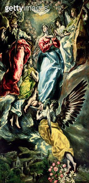 <b>Title</b> : The Assumption of the Virgin (oil on canvas)<br><b>Medium</b> : oil on canvas<br><b>Location</b> : Museo de Santa Cruz, Toledo, Spain<br> - gettyimageskorea