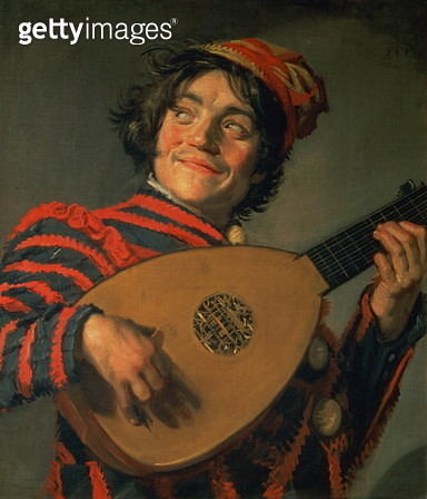 Portrait of a Jester with a Lute (oil on canvas) - gettyimageskorea