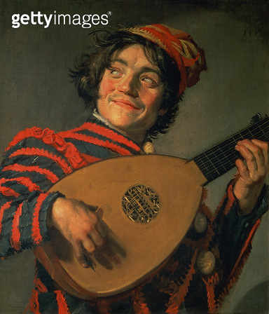 <b>Title</b> : Portrait of a Jester with a Lute (oil on canvas)<br><b>Medium</b> : <br><b>Location</b> : Louvre, Paris, France<br> - gettyimageskorea