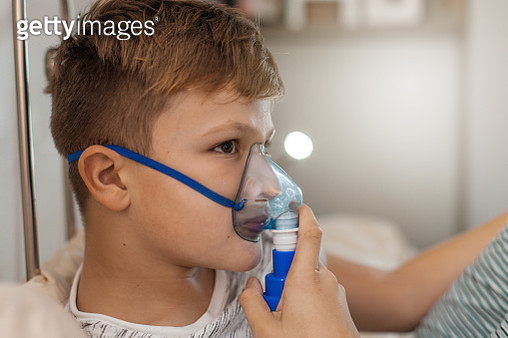 Boy Doing Inhalation Therapy at Home - gettyimageskorea