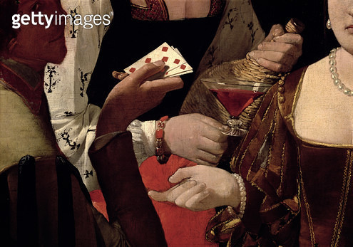 <b>Title</b> : The Cheat with the Ace of Diamonds, detail of the players, c.1635-40 (oil on canvas) (detail of 90053)<br><b>Medium</b> : oil on canvas<br><b>Location</b> : Louvre, Paris, France<br> - gettyimageskorea