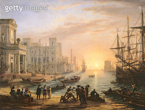<b>Title</b> : Sea Port at Sunset, 1639 (oil on canvas)<br><b>Medium</b> : oil on canvas<br><b>Location</b> : Louvre, Paris, France<br> - gettyimageskorea