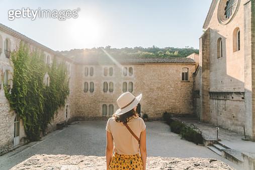 Woman walking near Sénanque Abbey  in Provence - gettyimageskorea