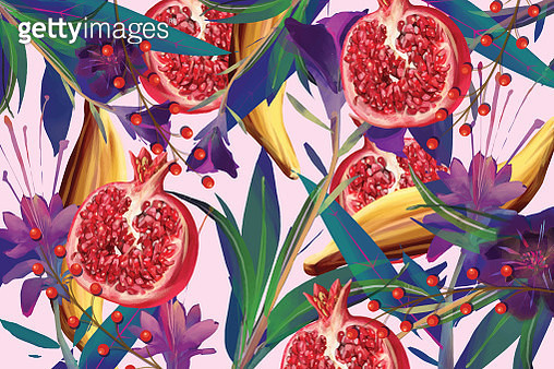 Food and flower pattern - gettyimageskorea