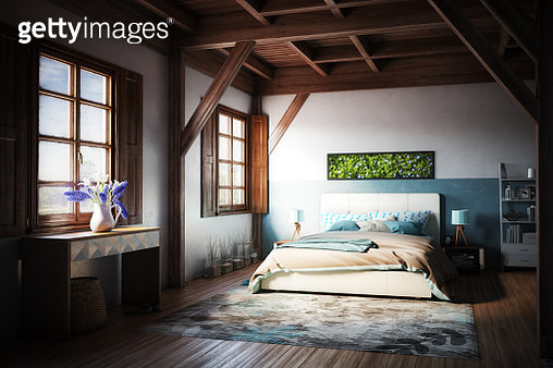Cozy Turquoise Colored Bedroom - gettyimageskorea
