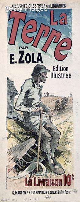 <b>Title</b> : Poster advertising 'La Terre' by Emile Zola, 1889 (colour litho)<br><b>Medium</b> : colour lithograph<br><b>Location</b> : Bibliotheque des Arts Decoratifs, Paris, France<br> - gettyimageskorea