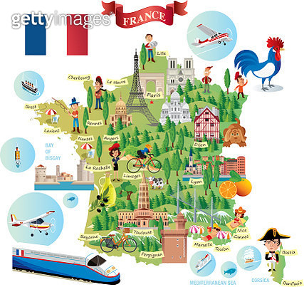 Cartoon map of France - gettyimageskorea
