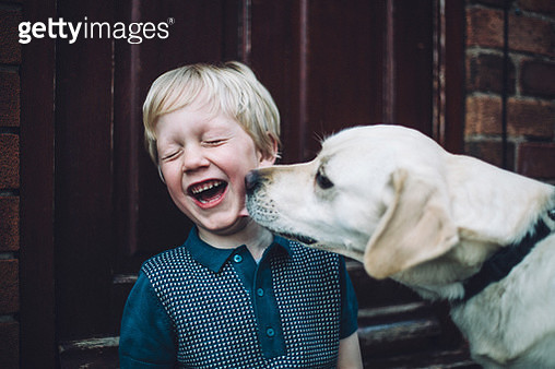 Happy smiling little boy with pet dog - gettyimageskorea