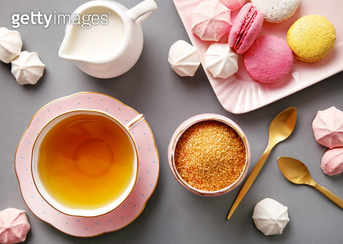 Directly Above Shot Of Tea By Meringues And Macaroons On Table - gettyimageskorea