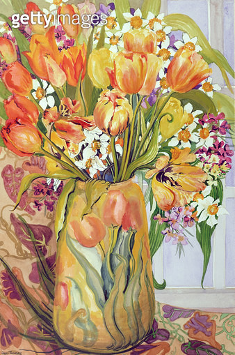 <b>Title</b> : Tulips and Narcissi in an Art Nouveau Vase (w/c on paper)<br><b>Medium</b> : watercolour on paper<br><b>Location</b> : Private Collection<br> - gettyimageskorea