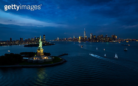 New York, New York City, Statue of liberty at night - gettyimageskorea