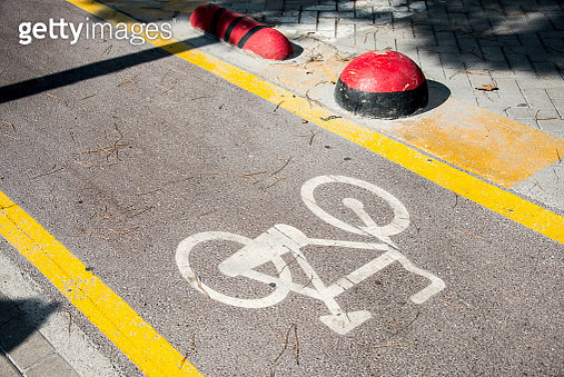 Bike Lanes Signs, Tirana Centre, Albania - gettyimageskorea