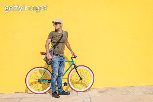 Man Posing With His Fixed Gear Bicycle - gettyimageskorea