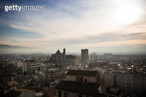 Elevated view of Granada skyline with the Cathedral dominating - gettyimageskorea