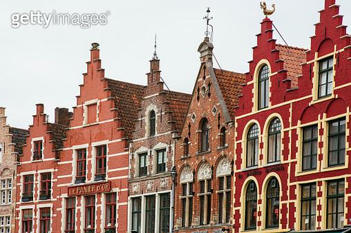 Houses rooftops at Market Place, Bruges, Belgium - gettyimageskorea