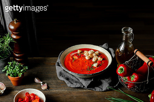 Red pepper soup served in a bowl - gettyimageskorea