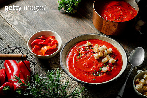 Freshly made red pepper soup - gettyimageskorea