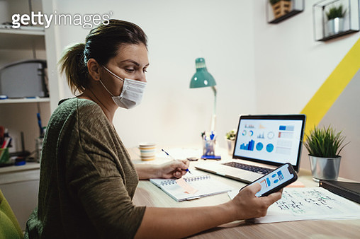 Working at home with face mask - gettyimageskorea