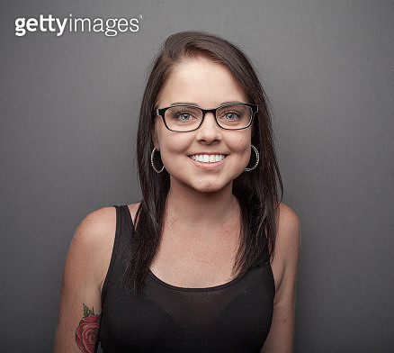 Portrait of beautiful young woman, glasses - gettyimageskorea