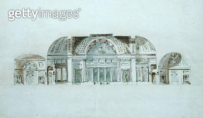 <b>Title</b> : Neo-classical Palace Interior, c.1780 (pen & ink with coloured wash on paper)<br><b>Medium</b> : pen and ink with coloured wash on paper<br><b>Location</b> : Private Collection<br> - gettyimageskorea