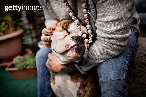 Close-up of tattooed man stroking his dog - gettyimageskorea