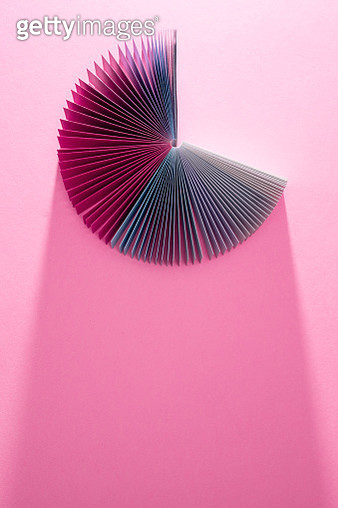 Colorful Pink Paper Card Pages Fanned Out Pie-chart Shape Overhead View with Long Shadow - gettyimageskorea