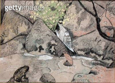 Landscape with a Bird and a Toad (charcoal & pastel on paper) - gettyimageskorea