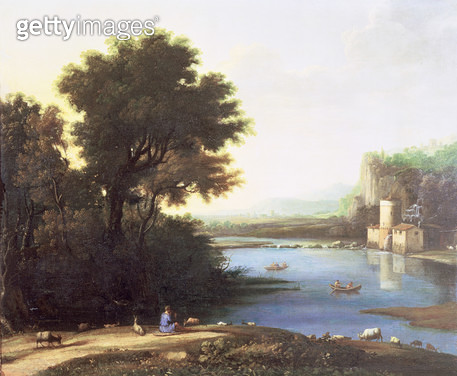 <b>Title</b> : Italianate Landscape with a Goatherd Piping to his Goats (oil on canvas)<br><b>Medium</b> : oil on canvas<br><b>Location</b> : Private Collection<br> - gettyimageskorea