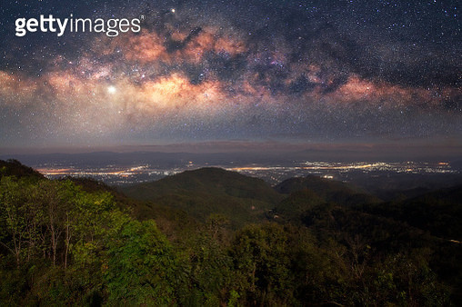 Milky way over forest at Doi Ang Khang - gettyimageskorea