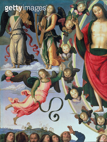 <b>Title</b> : The Ascension of Christ, detail of Christ and musician angels, upper right section, 1495-98 (oil on panel) (detail of 89700)<br><b>Medium</b> : <br><b>Location</b> : Musee des Beaux-Arts, Lyon, France<br> - gettyimageskorea