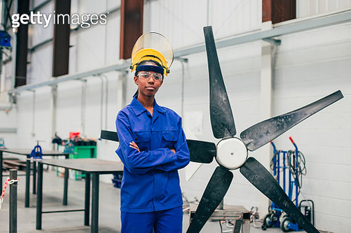 Portrait of a Young Woman in an Engineering Workshop - gettyimageskorea
