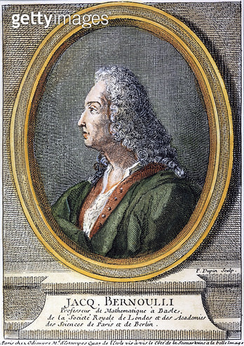 JACQUES BERNOULLI /n(1654-1705). Swiss mathematician. French color engraving, 18th century. - gettyimageskorea
