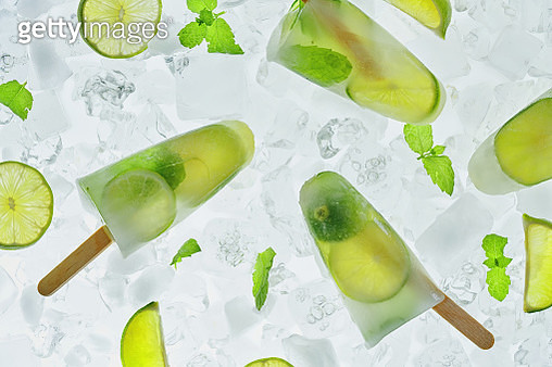 Homemade Lime Fruit Popsicle's on Ice - gettyimageskorea