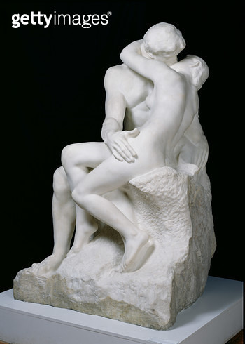<b>Title</b> : The Kiss, 1888-98 (marble)Additional Infoalso known as Paolo and Francesca;<br><b>Medium</b> : marble<br><b>Location</b> : Musee Rodin, Paris, France<br> - gettyimageskorea