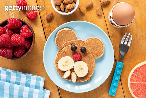 Colorful Breakfast For Kids, Funny Pancake, Egg And Fruits - gettyimageskorea