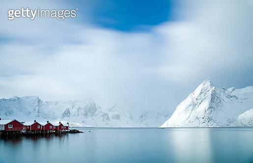 A long exposure over the fabulous Hamnøy Harbour in the Lofoten Islands, Arctic Norway. - gettyimageskorea