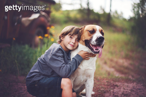 Boy and dog - gettyimageskorea