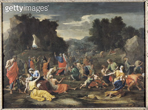 <b>Title</b> : The Gathering of Manna, c.1637-9 (oil on canvas)<br><b>Medium</b> : oil on canvas<br><b>Location</b> : Louvre, Paris, France<br> - gettyimageskorea