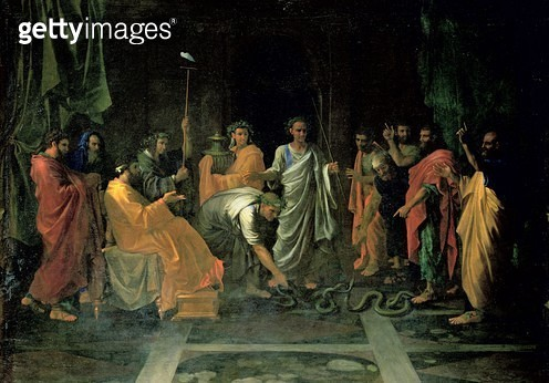 <b>Title</b> : Moses and the Brazen Serpent (oil on canvas)<br><b>Medium</b> : oil on canvas<br><b>Location</b> : Louvre, Paris, France<br> - gettyimageskorea