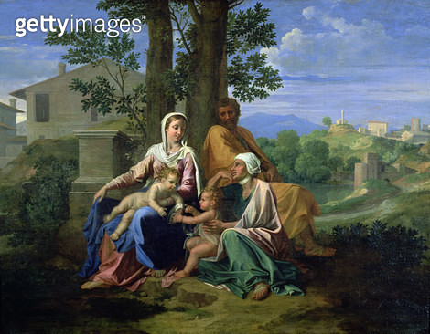 <b>Title</b> : The Holy Family with SS. John, Elizabeth and the Infant John the Baptist (oil on canvas)<br><b>Medium</b> : oil on canvas<br><b>Location</b> : Louvre, Paris, France<br> - gettyimageskorea