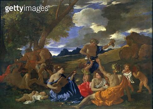 <b>Title</b> : Bacchanalian Scene (oil on canvas)<br><b>Medium</b> : oil on canvas<br><b>Location</b> : Louvre, Paris, France<br> - gettyimageskorea