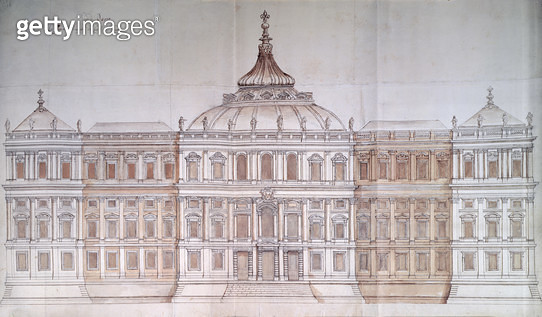 Second Design for the Principal Facade of the Louvre (pen & ink on paper) - gettyimageskorea