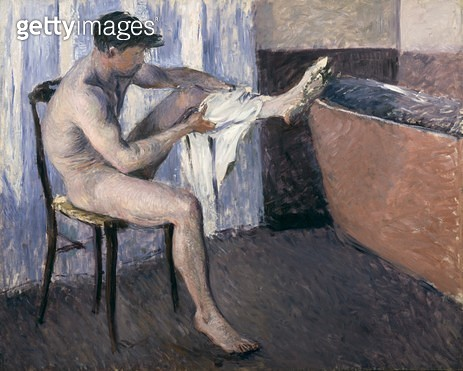 <b>Title</b> : Man drying his leg (oil on canvas)<br><b>Medium</b> : oil on canvas<br><b>Location</b> : Private Collection<br> - gettyimageskorea