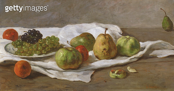 <b>Title</b> : Apples, pears and grapes (oil on panel)<br><b>Medium</b> : oil on panel<br><b>Location</b> : Private Collection<br> - gettyimageskorea