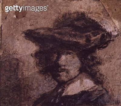 <b>Title</b> : Self Portrait with a Plumed Hat and White Collar, 1630 (pen & ink on paper)<br><b>Medium</b> : pen and ink on paper with white highlighting<br><b>Location</b> : Louvre, Paris, France<br> - gettyimageskorea