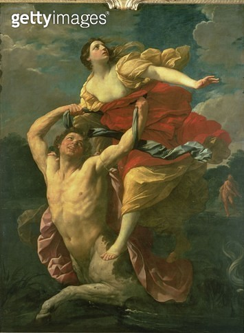 <b>Title</b> : The Abduction of Deianeira by the Centaur Nessus, 1620-1 (oil on canvas)Additional Infocommissioned by Ferdinando Gonzaga, Duke<br><b>Medium</b> : oil on canvas<br><b>Location</b> : Louvre, Paris, France<br> - gettyimageskorea